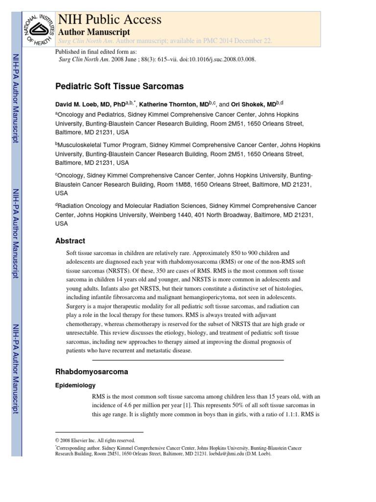 Paediatric Soft Tissue Tumours   Radiation Therapy   Biopsy