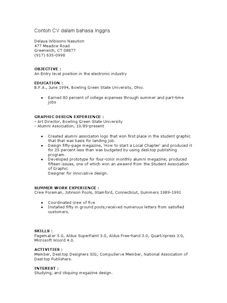 Contoh Cv Dan Surat Lamaran Kerja Dalam Bahasa Inggris Bagi Contoh Surat