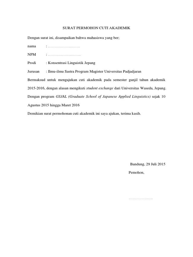 Contoh Surat Permohonan Cuti Unpad