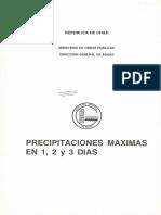 MOP DGA Precipitaciones máximas en 1, 2 y 3 días