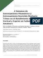 Efectos de 8 Semanas de Entrenamiento Pliometrico y Resistido en Futbolistas Amateurs