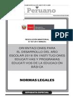 ORIENTACIONES PARA EL DESARROLLO DEL AÑO ESCOLAR 2018 EN INSTITUCIONES EDUCATIVAS Y PROGRAMAS EDUCATIVOS DE LA EDUCACIÓN BÁSICA