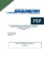 Estructura Salarial y Segmentación en El Mercado Laboral de Colombia. Un Análisis de Las Siete Principales Ciudades, 2001-2005