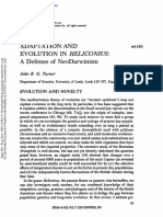 Adaptation and Evolution in Heliconius. a Defense of NeoDarwinism