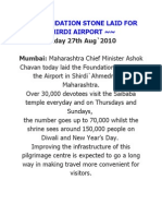 Foundation Stone Laid for Shirdi Airport