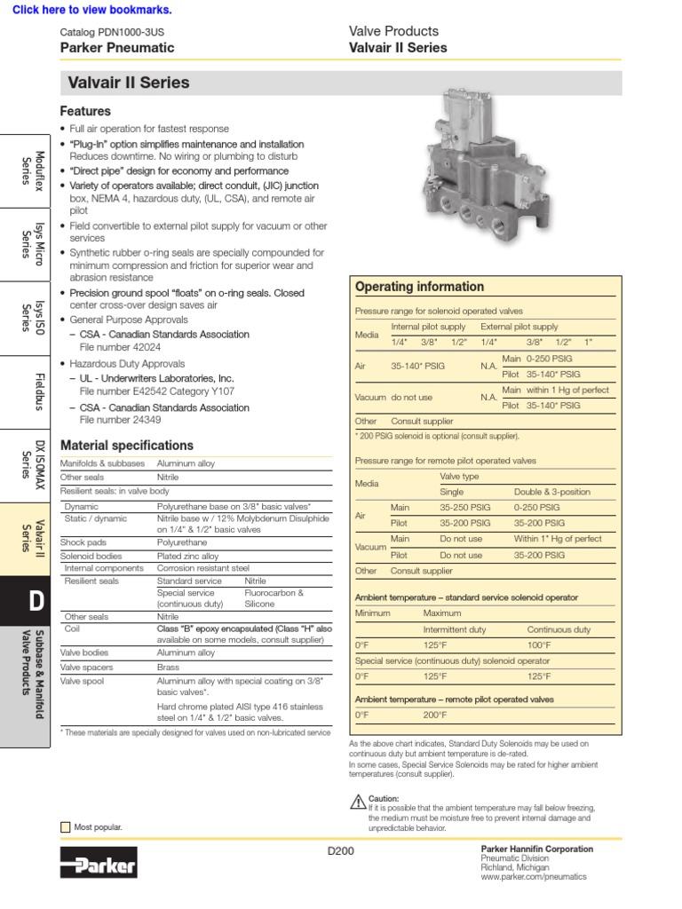 PARKER Solenoid Air Control Valve L6753910253 K175903553 3//8 In 120VAC