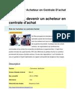 Fiche Métier Acheteur en Centrale D'Achat