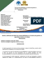 Diseño y definición de Matriz de responsabilidades en el sistema de gestión en  seguridad y salud en el trabajo (Planeación)