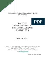 Math Oraux Corrigés Concours CCP MP