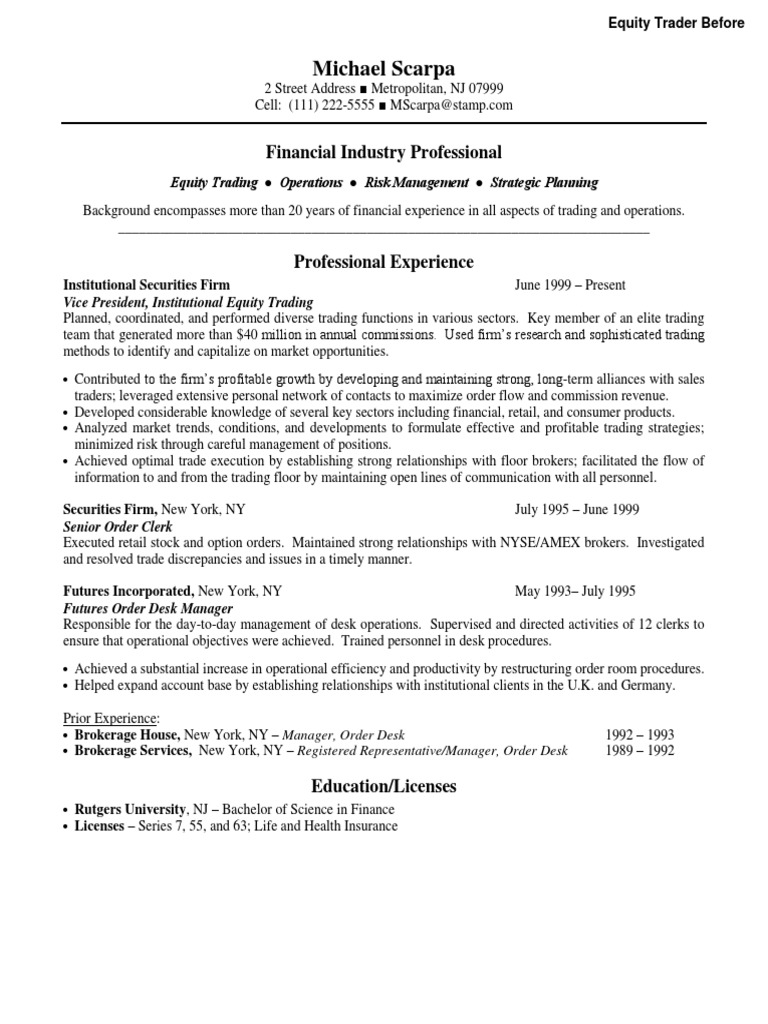 Famous Senior Equity Trader Resume Photos - Entry Level Resume ...