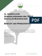 Bericht des Präsidenten 2009