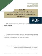 Aula 03 - Substantivo, Adjetivo, Artigo, Numeral, Preposição e Conjunção