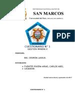 Fuentes Rivera - Cuestionario N°1, Gestión Minera 2