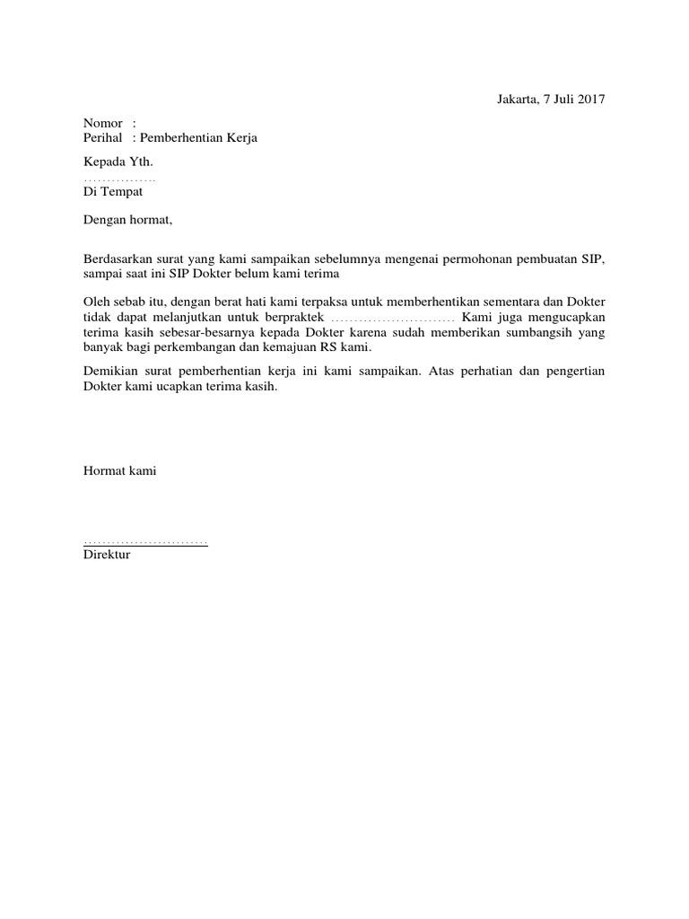 Contoh Surat Pemberhentian Kerja