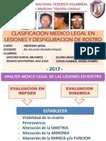 Clasificacion Medico Legal en Lesiones y Desfiguracion De ROSTRO