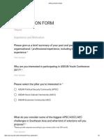 Application Form Ayc 2017 _ Asean Youth Organization