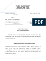 Position Paper for the Defendant - Ejectment - Rolly & Rufina Bito