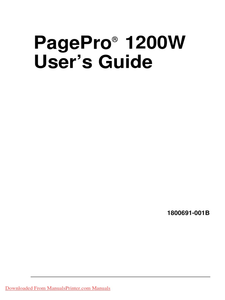 Pagepro 1200W User'S Guide