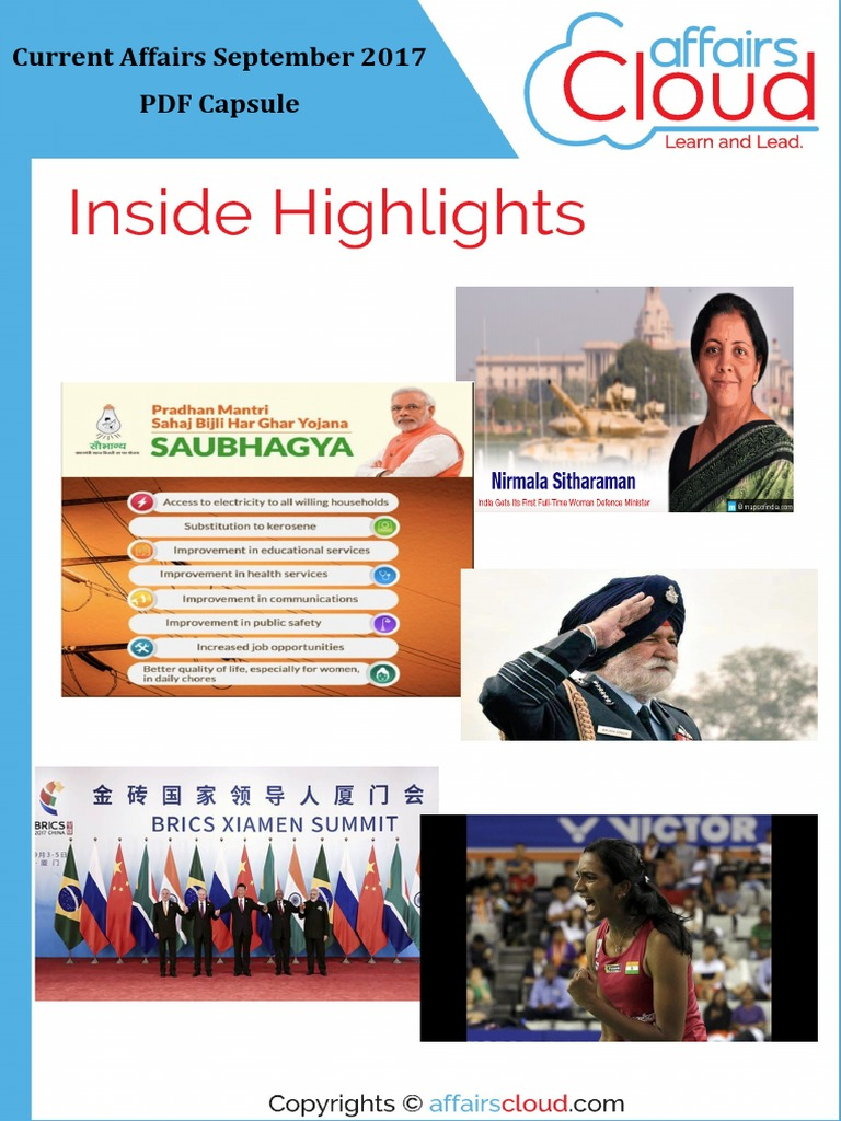 Current Affairs Study PDF - September 2017 by AffairsCloud pdf