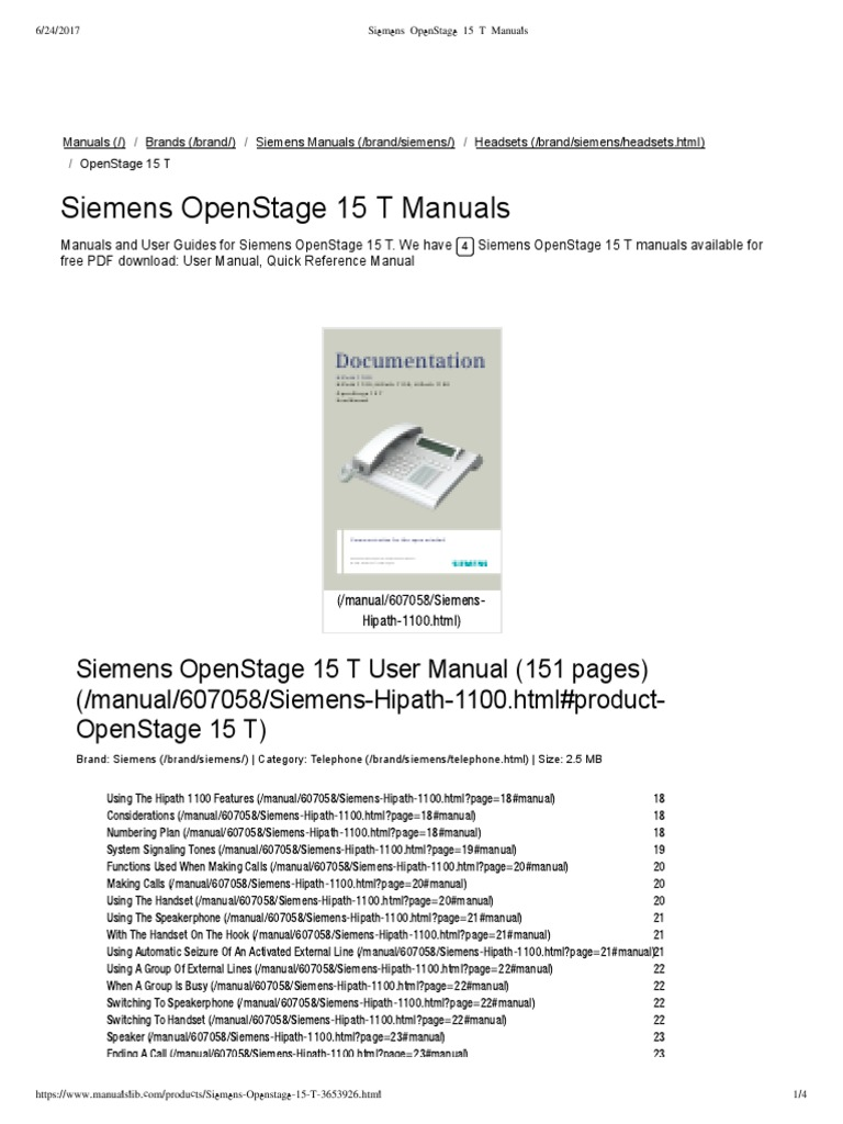 Siemens OpenStage 15 T Manuals | Telephone | Electronics