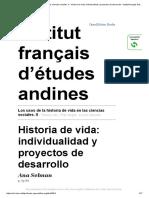 Los Usos de La Historia de Vida en Las Ciencias Sociales - Individualidades e Projetos de Desenvolvimento