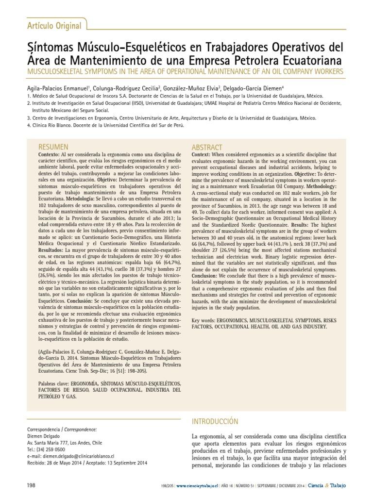 Síntomas Músculo-Esqueléticos en Trabajadores Operativos