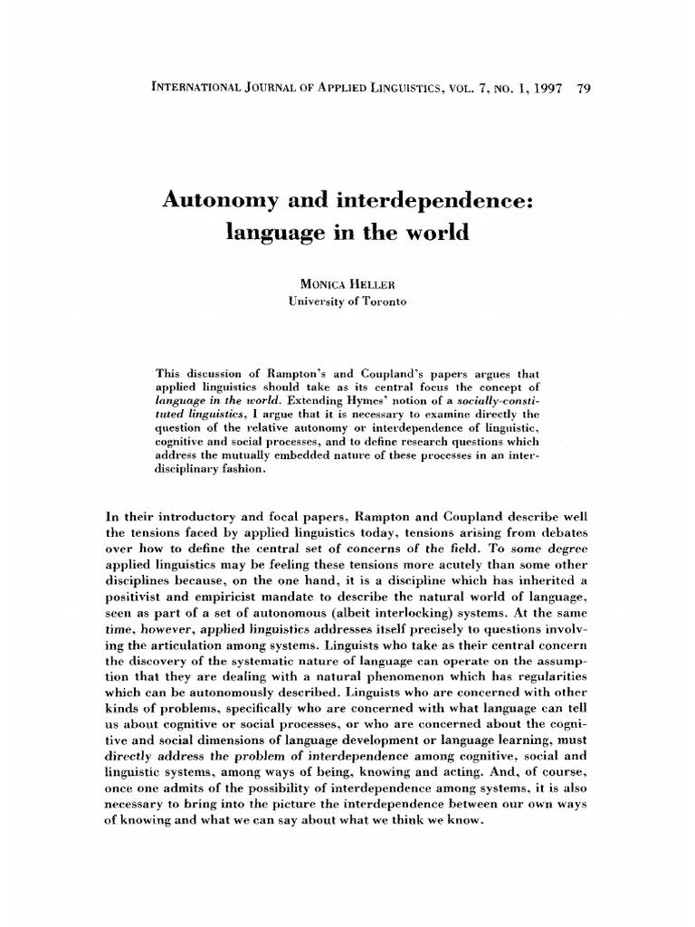 Heller Language In The Worldpdf Linguistics French Language - World no 1 language