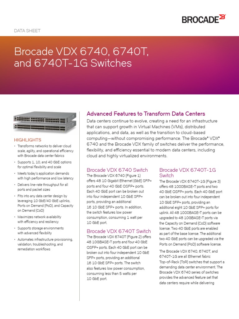 Brocade Vdx 6740 Switches Ds | I Pv6 | Computer Network