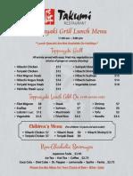 Teppanyaki Grill Lunch Menu