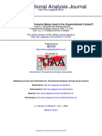 How is Transactional Analysis Being Used in the Organizational Context
