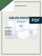 Airline Industry Sana, Nida, Mehreen