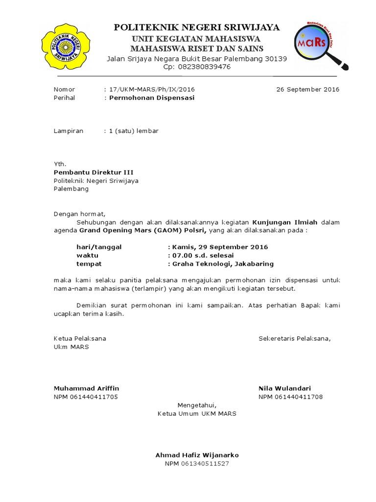 Surat Permohonan Dispensasi