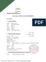 MSDS Citric Acid_cbzr - Hoja de Seguridad