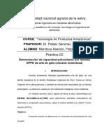 Determinación de Capacidad Antioxidante Por Método DPPH de Uña de Gato (Uncaria Tomentosa)