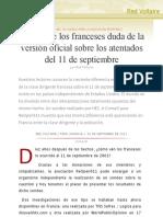 El 58% de los franceses duda de la versión oficial sobre los atentados del 11 de septiembre, por Red