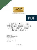 Informe de Métodos de Análisis Por Espectroscopia de Absorción Atómica y Horno de Grafito