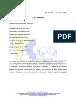 Carta Garantia de Sistema Fotovoltaico