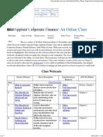 Corporate Finance Online Class-syllabus
