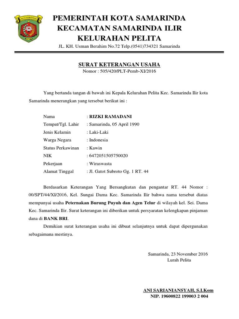 Surat Keterangan Usaha Dari Rt