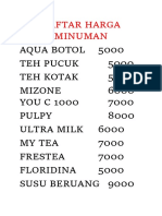 Daftar Harga Minuman