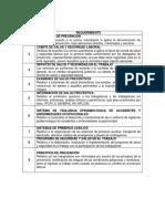 Lista de verificación de ordenamientos - INPSASEL