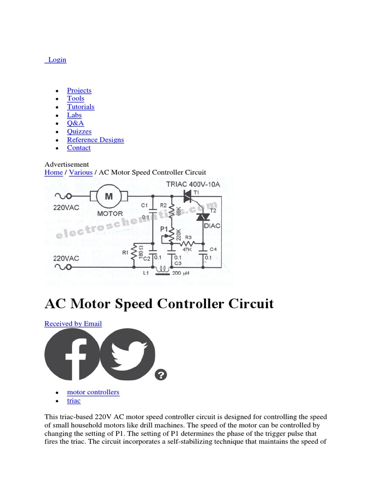 Motor Speed Electronic Engineering Electronics Control Circuits Projects