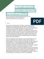 Plataforma Intergubernamental Sobre Biodiversidad y Servicios de Los Ecosistemas
