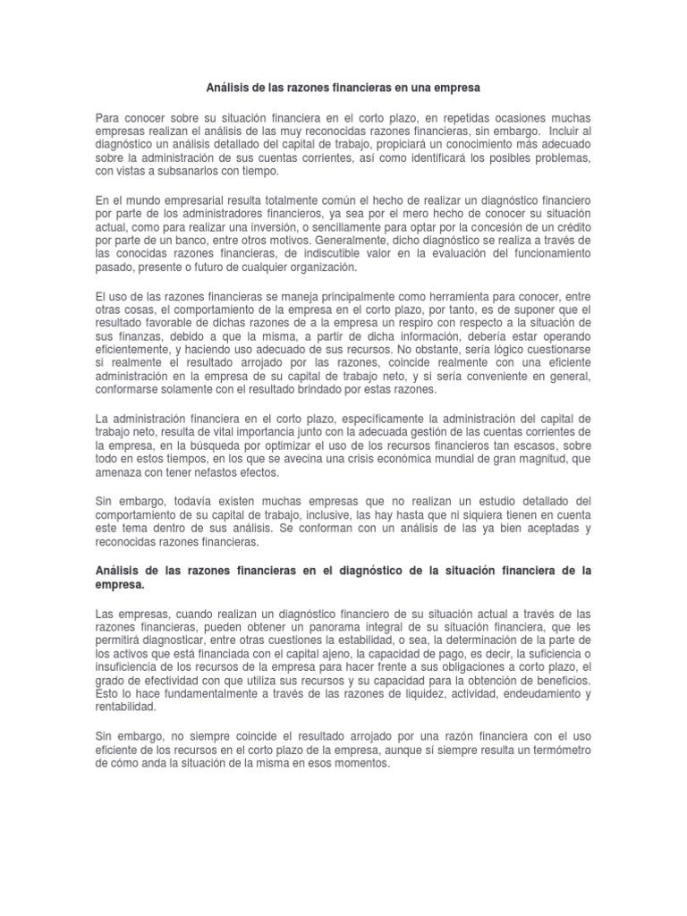 Analisis De Las Razones Financieras En Una Empresa Capital De Trabajo Rentabilidad Sobre Recursos Propios Subito a casa e in tutta sicurezza con ebay! scribd
