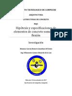 Hipotesis y Especificaciones de Elementos de Concreto Sometido a Flexion