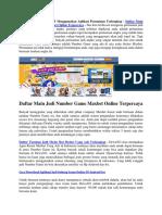 Daftar Main Judi Number Game Maxbet Online Terpercaya