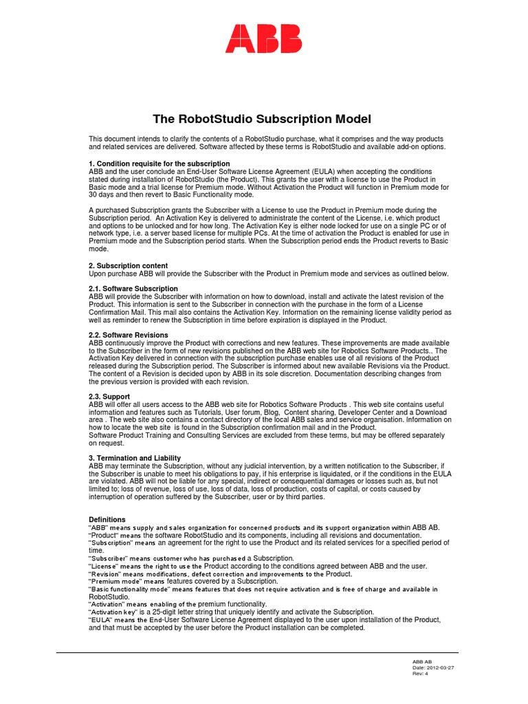 Robotstudio Subscription Model Subscription Business Model License