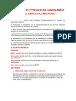 Operaciones y Tecnicas de Laboratorio en El Analisis Cualitativo