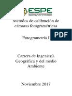 Métodos de Calibración de Cámaras Fotogramétricas