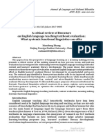 [Journal of Language and Cultural Education] a Critical Review of Literature on English Language Teaching Textbook Evaluation What Systemic Functional Linguistics Can Offer